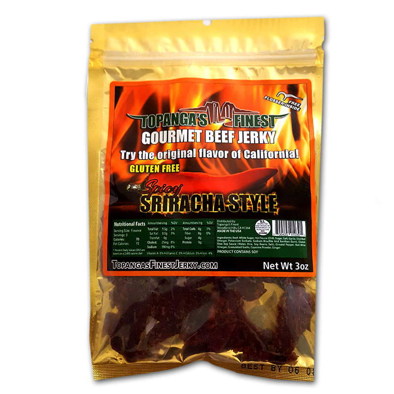 Gluten Free All Natural Spicy Sriracha Style Beef Jerky